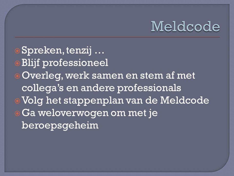  Spreken, tenzij …  Blijf professioneel  Overleg, werk samen en stem af met collega's en andere professionals  Volg het stappenplan van de Meldcod