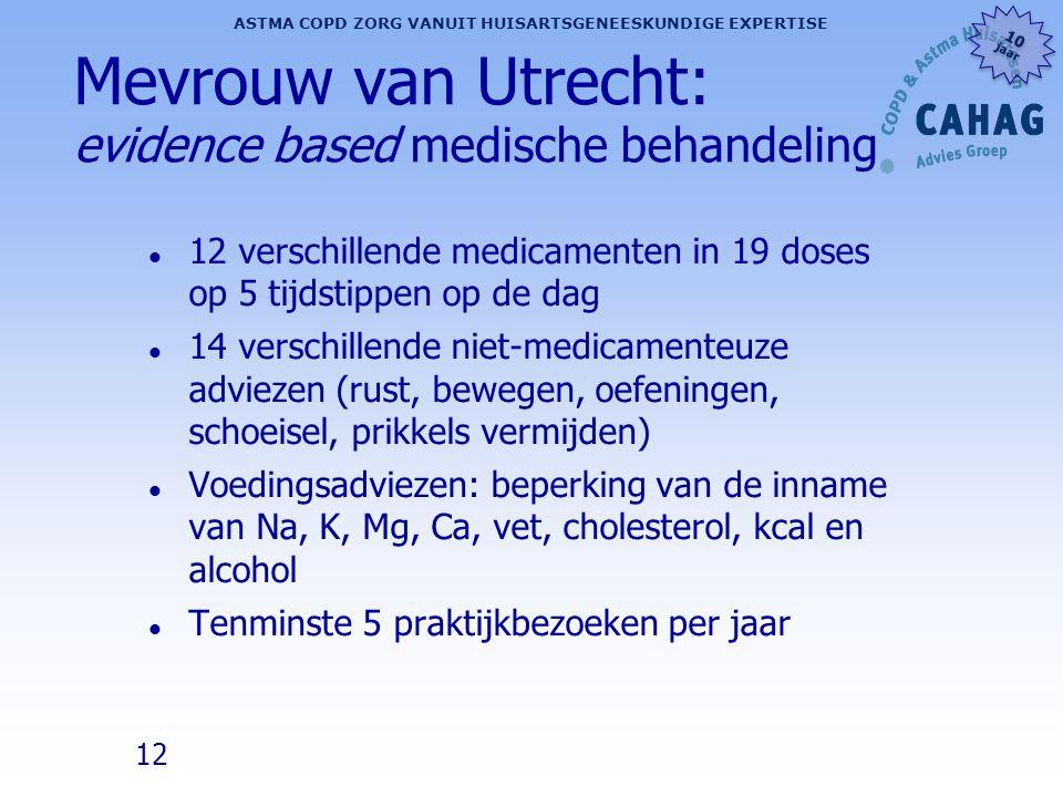 12 ASTMA COPD ZORG VANUIT HUISARTSGENEESKUNDIGE EXPERTISE 10 jaar 10 jaar Mevrouw van Utrecht: evidence based medische behandeling l 12 verschillende