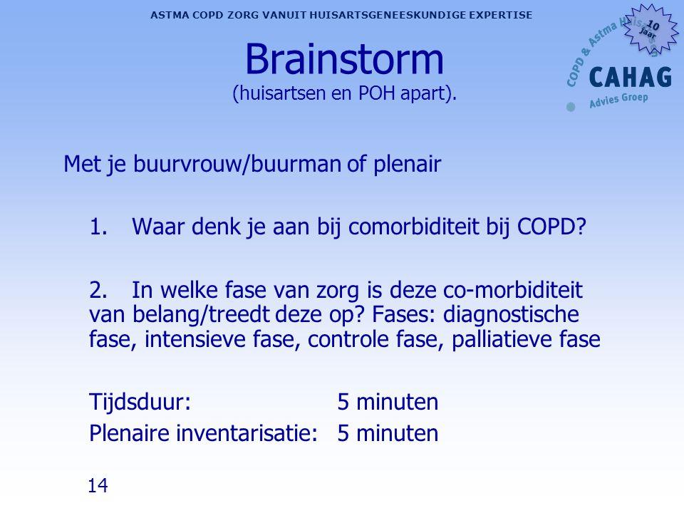 14 ASTMA COPD ZORG VANUIT HUISARTSGENEESKUNDIGE EXPERTISE 10 jaar 10 jaar Brainstorm (huisartsen en POH apart). Met je buurvrouw/buurman of plenair 1.