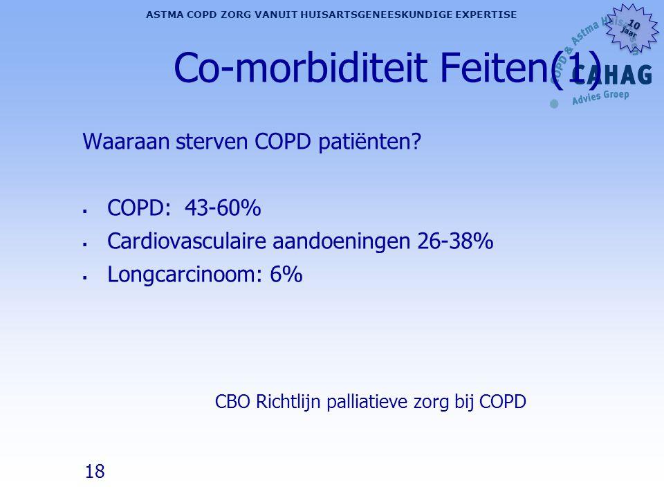 18 ASTMA COPD ZORG VANUIT HUISARTSGENEESKUNDIGE EXPERTISE 10 jaar 10 jaar Co-morbiditeit Feiten(1) Waaraan sterven COPD patiënten?  COPD: 43-60%  Ca