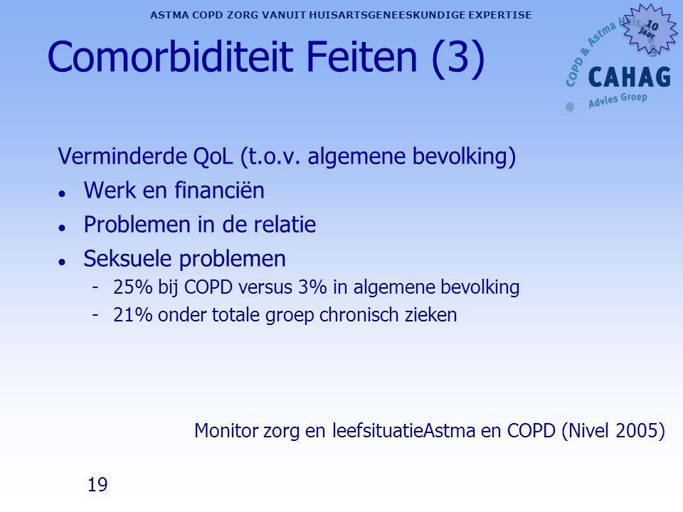 19 ASTMA COPD ZORG VANUIT HUISARTSGENEESKUNDIGE EXPERTISE 10 jaar 10 jaar Comorbiditeit Feiten (3) Verminderde QoL (t.o.v. algemene bevolking) l Werk