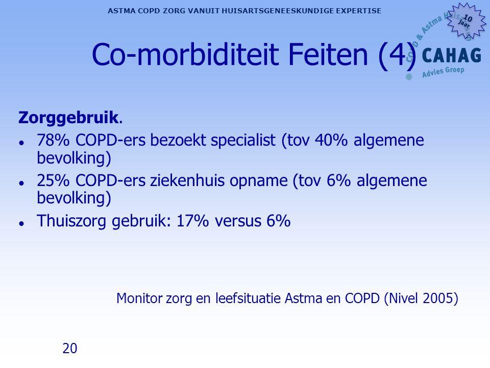 20 ASTMA COPD ZORG VANUIT HUISARTSGENEESKUNDIGE EXPERTISE 10 jaar 10 jaar Co-morbiditeit Feiten (4) Zorggebruik. l 78% COPD-ers bezoekt specialist (to