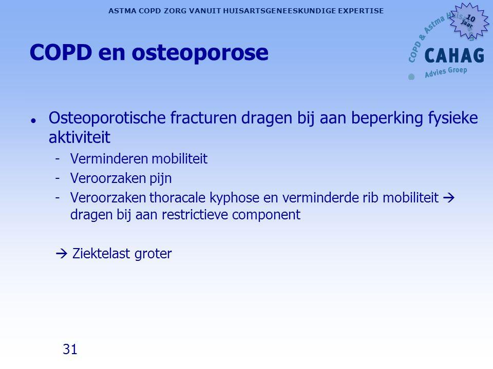 31 ASTMA COPD ZORG VANUIT HUISARTSGENEESKUNDIGE EXPERTISE 10 jaar 10 jaar COPD en osteoporose l Osteoporotische fracturen dragen bij aan beperking fys
