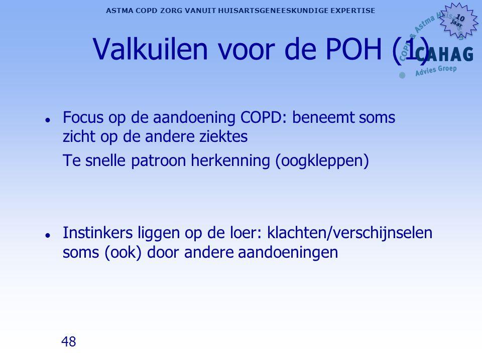 48 ASTMA COPD ZORG VANUIT HUISARTSGENEESKUNDIGE EXPERTISE 10 jaar 10 jaar Valkuilen voor de POH (1) l Focus op de aandoening COPD: beneemt soms zicht