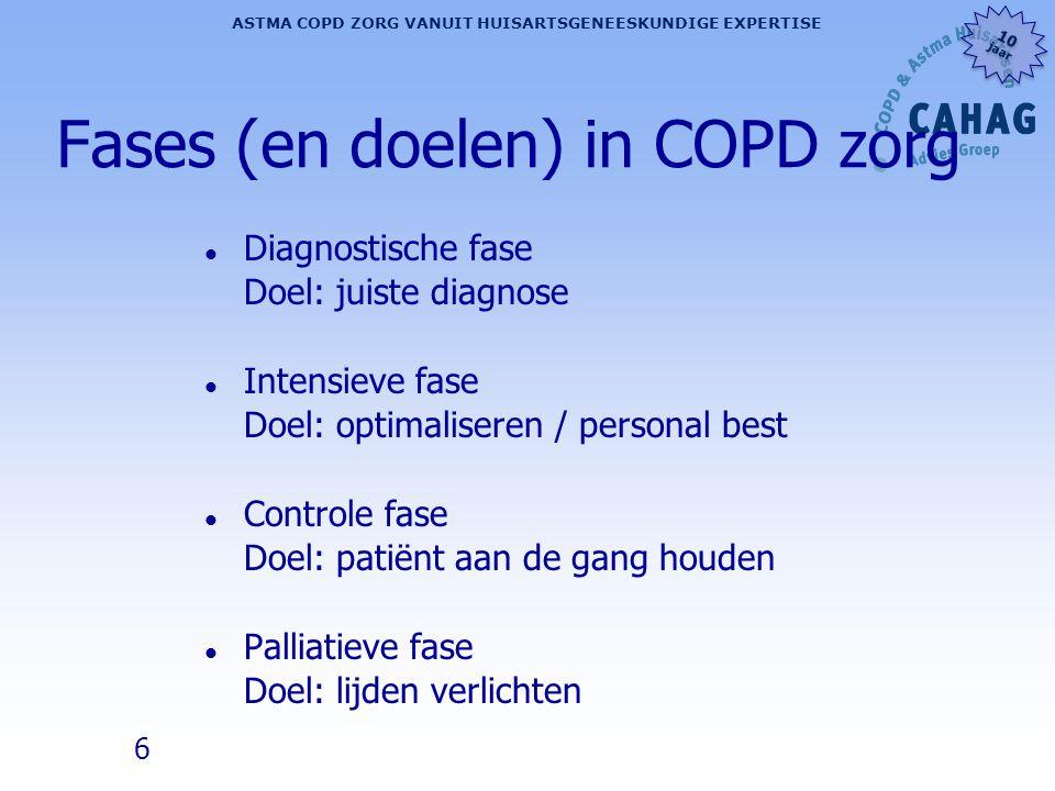 6 ASTMA COPD ZORG VANUIT HUISARTSGENEESKUNDIGE EXPERTISE 10 jaar 10 jaar Fases (en doelen) in COPD zorg l Diagnostische fase Doel: juiste diagnose l I