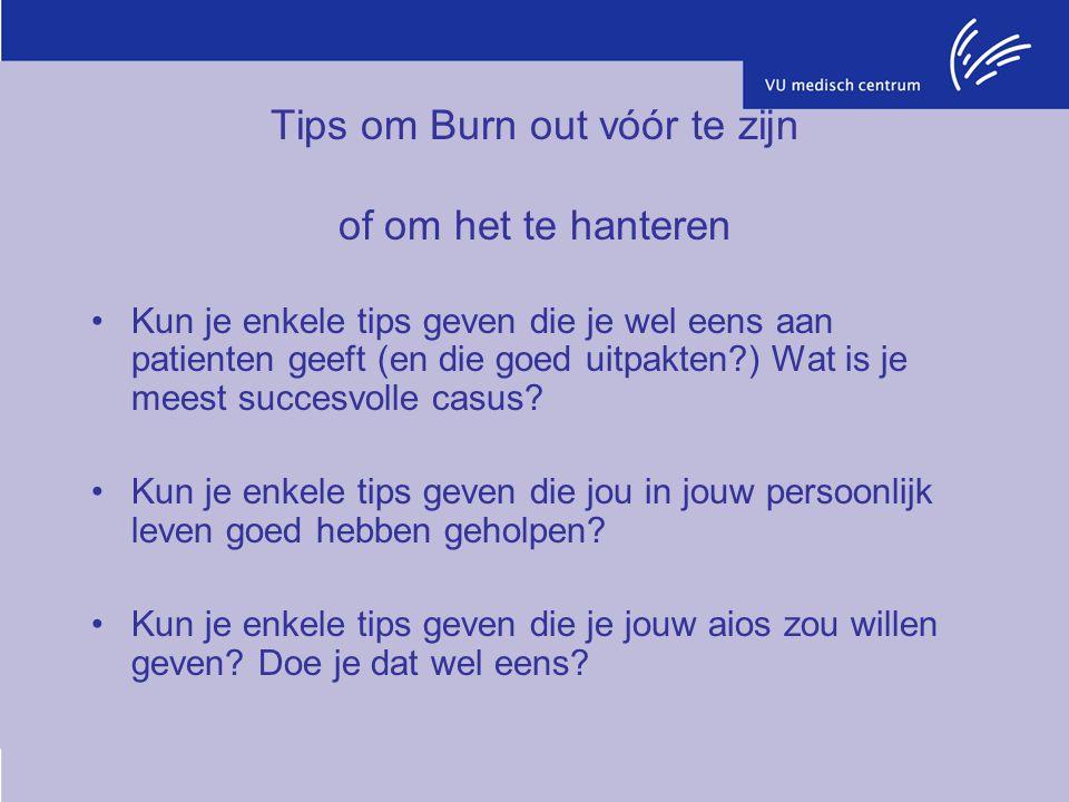 Tips om Burn out vóór te zijn of om het te hanteren Kun je enkele tips geven die je wel eens aan patienten geeft (en die goed uitpakten?) Wat is je me