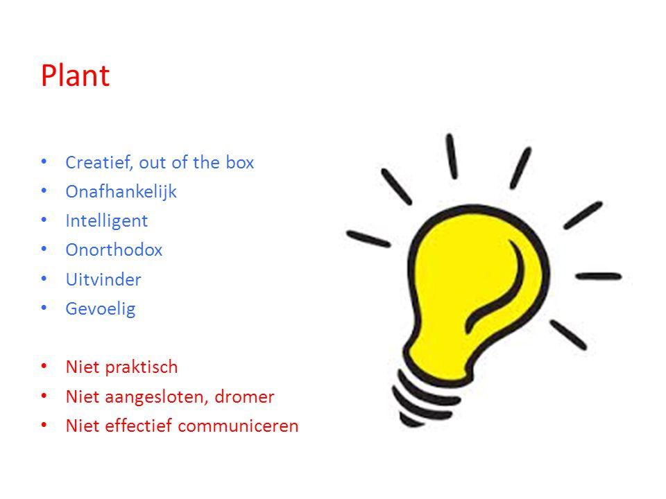 Plant Creatief, out of the box Onafhankelijk Intelligent Onorthodox Uitvinder Gevoelig Niet praktisch Niet aangesloten, dromer Niet effectief communiceren