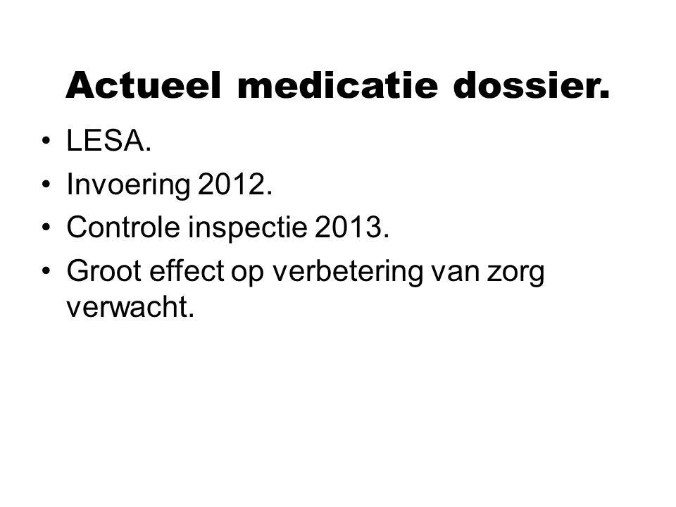 Actueel medicatie dossier. LESA. Invoering 2012. Controle inspectie 2013. Groot effect op verbetering van zorg verwacht.