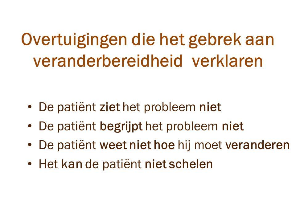 Overtuigingen die het gebrek aan veranderbereidheid verklaren De patiënt ziet het probleem niet De patiënt begrijpt het probleem niet De patiënt weet niet hoe hij moet veranderen Het kan de patiënt niet schelen