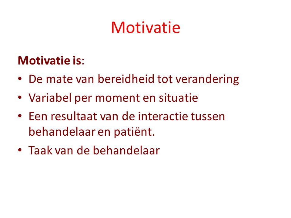 Motivatie Motivatie is: De mate van bereidheid tot verandering Variabel per moment en situatie Een resultaat van de interactie tussen behandelaar en patiënt.