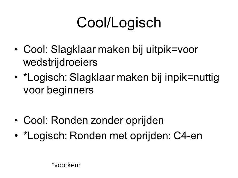 Cool/Logisch Cool: Slagklaar maken bij uitpik=voor wedstrijdroeiers *Logisch: Slagklaar maken bij inpik=nuttig voor beginners Cool: Ronden zonder opri
