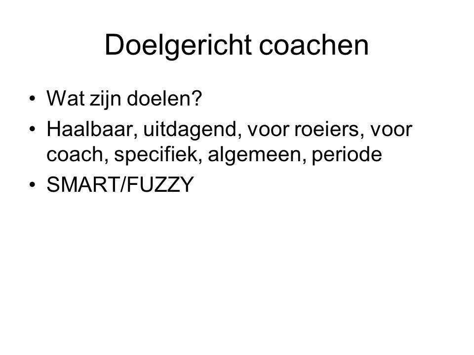 Doelgericht coachen Wat zijn doelen? Haalbaar, uitdagend, voor roeiers, voor coach, specifiek, algemeen, periode SMART/FUZZY