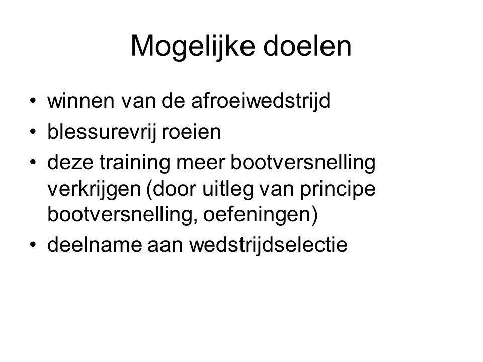 Mogelijke doelen winnen van de afroeiwedstrijd blessurevrij roeien deze training meer bootversnelling verkrijgen (door uitleg van principe bootversnel