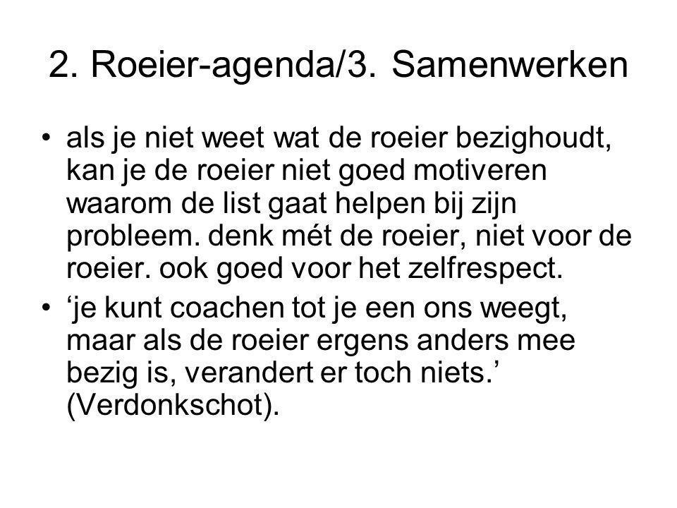 2. Roeier-agenda/3. Samenwerken als je niet weet wat de roeier bezighoudt, kan je de roeier niet goed motiveren waarom de list gaat helpen bij zijn pr