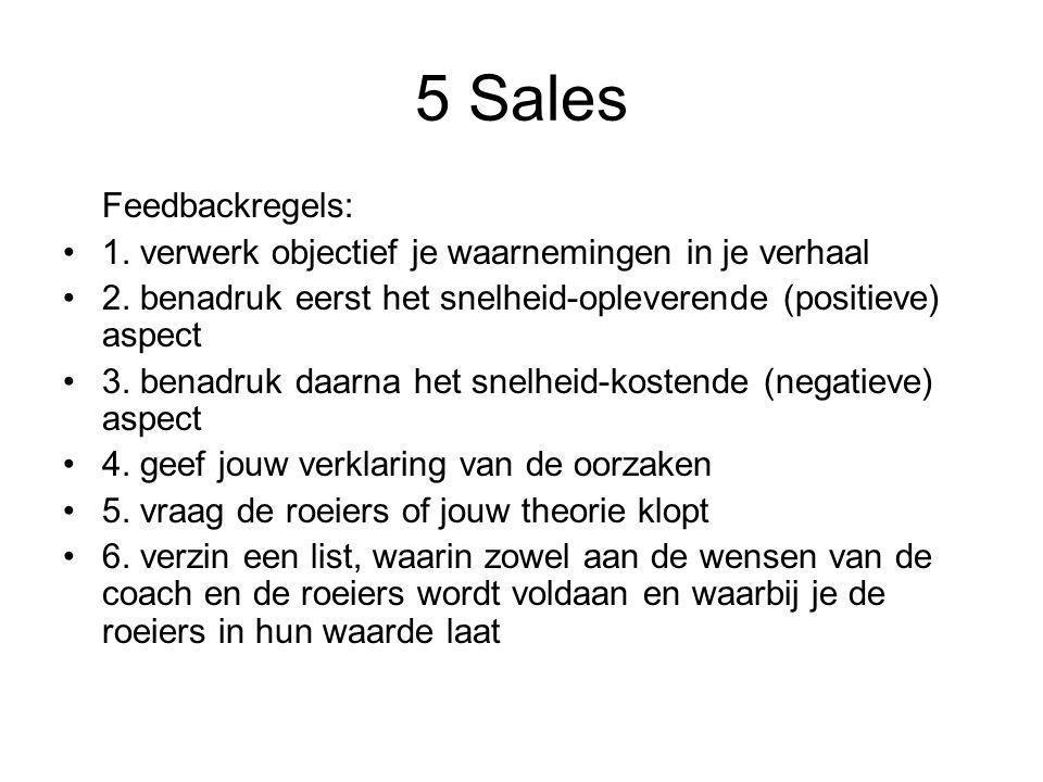 5 Sales Feedbackregels: 1. verwerk objectief je waarnemingen in je verhaal 2. benadruk eerst het snelheid-opleverende (positieve) aspect 3. benadruk d