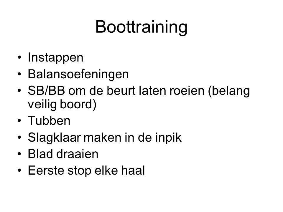 Boottraining Instappen Balansoefeningen SB/BB om de beurt laten roeien (belang veilig boord) Tubben Slagklaar maken in de inpik Blad draaien Eerste st