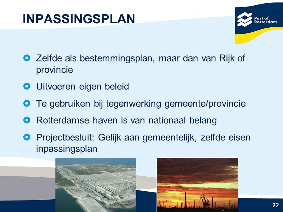 22 INPASSINGSPLAN  Zelfde als bestemmingsplan, maar dan van Rijk of provincie  Uitvoeren eigen beleid  Te gebruiken bij tegenwerking gemeente/provi