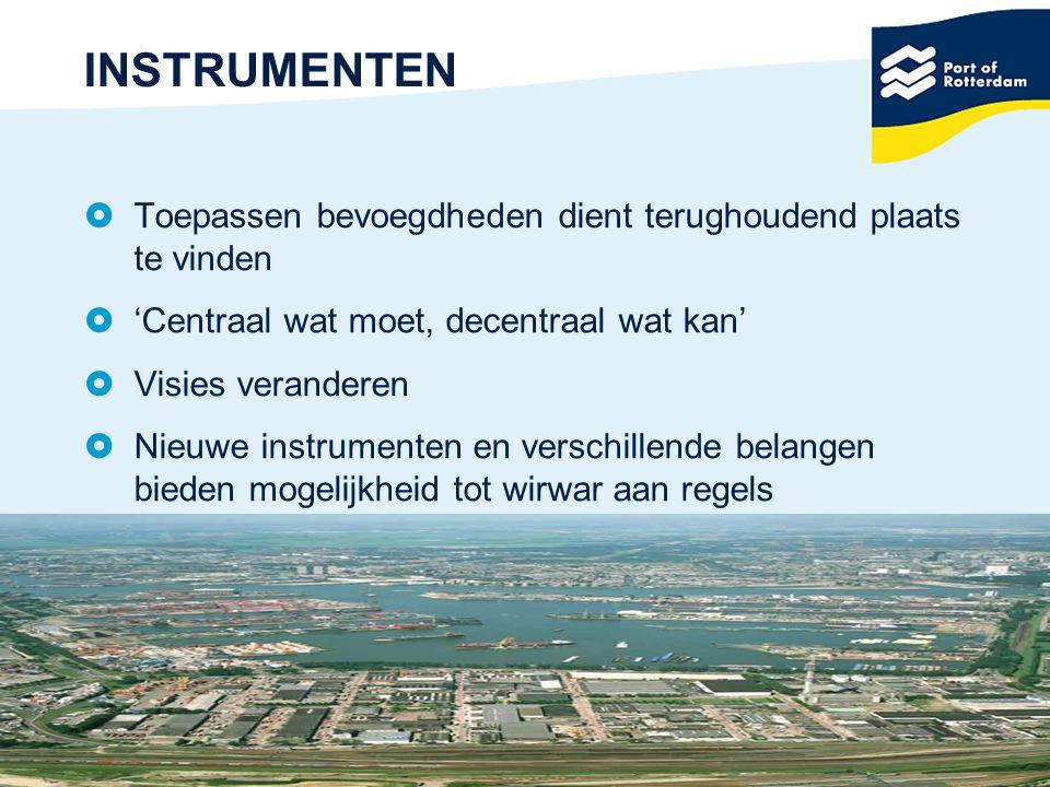 26 INSTRUMENTEN  Toepassen bevoegdheden dient terughoudend plaats te vinden  'Centraal wat moet, decentraal wat kan'  Visies veranderen  Nieuwe in