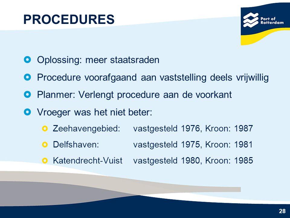28 PROCEDURES  Oplossing: meer staatsraden  Procedure voorafgaand aan vaststelling deels vrijwillig  Planmer: Verlengt procedure aan de voorkant 
