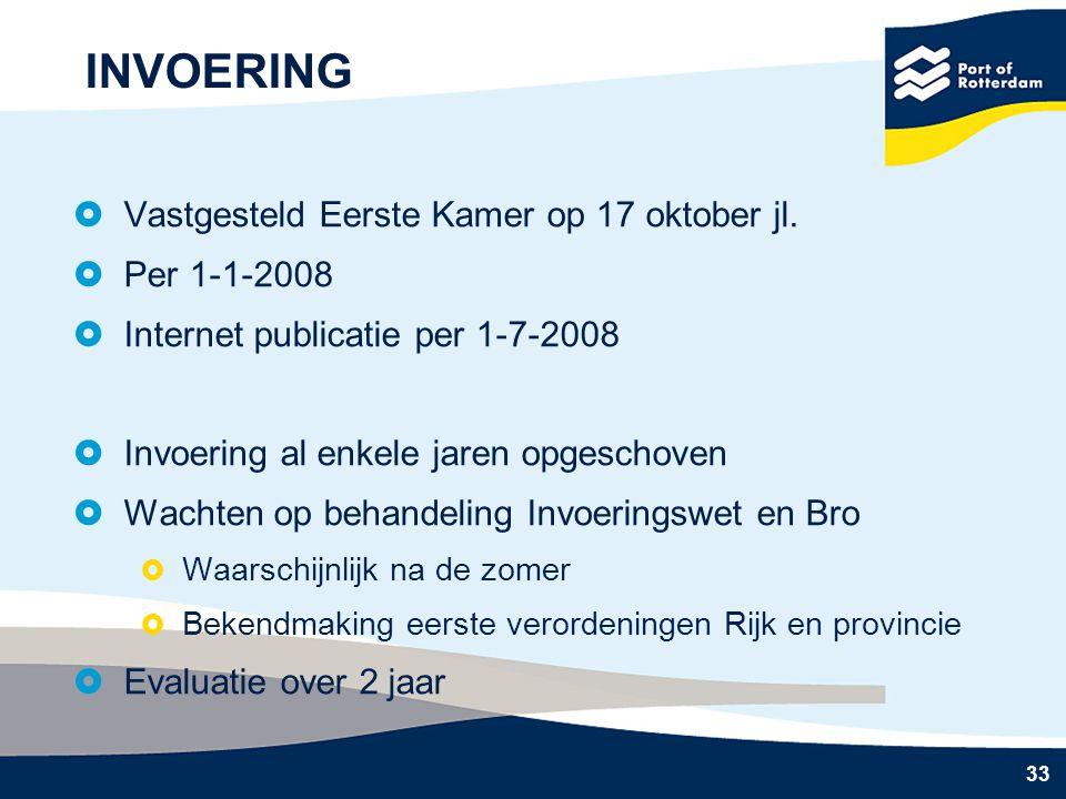 33 INVOERING  Vastgesteld Eerste Kamer op 17 oktober jl.  Per 1-1-2008  Internet publicatie per 1-7-2008  Invoering al enkele jaren opgeschoven 