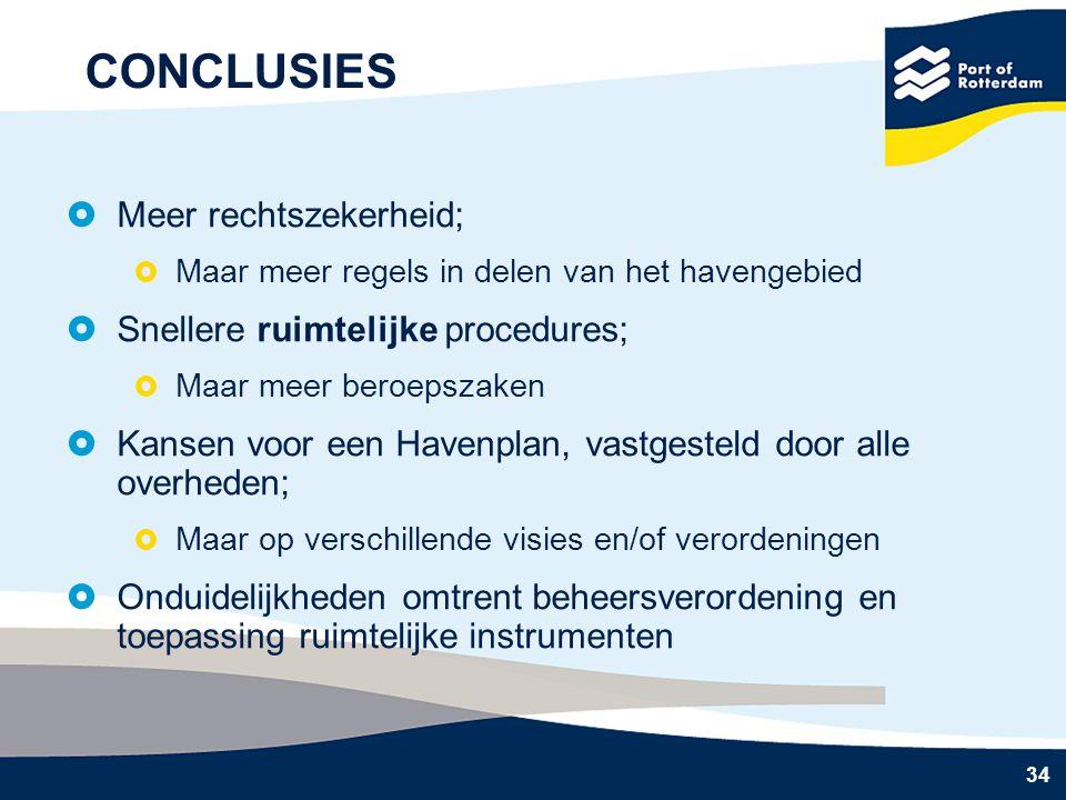 34 CONCLUSIES  Meer rechtszekerheid;  Maar meer regels in delen van het havengebied  Snellere ruimtelijke procedures;  Maar meer beroepszaken  Kansen voor een Havenplan, vastgesteld door alle overheden;  Maar op verschillende visies en/of verordeningen  Onduidelijkheden omtrent beheersverordening en toepassing ruimtelijke instrumenten