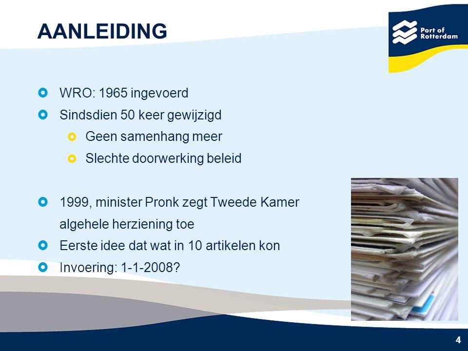 4 AANLEIDING  WRO: 1965 ingevoerd  Sindsdien 50 keer gewijzigd  Geen samenhang meer  Slechte doorwerking beleid  1999, minister Pronk zegt Tweede