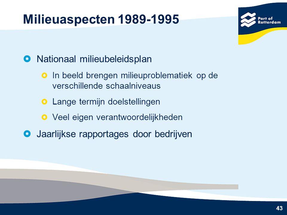 43 Milieuaspecten 1989-1995  Nationaal milieubeleidsplan  In beeld brengen milieuproblematiek op de verschillende schaalniveaus  Lange termijn doelstellingen  Veel eigen verantwoordelijkheden  Jaarlijkse rapportages door bedrijven