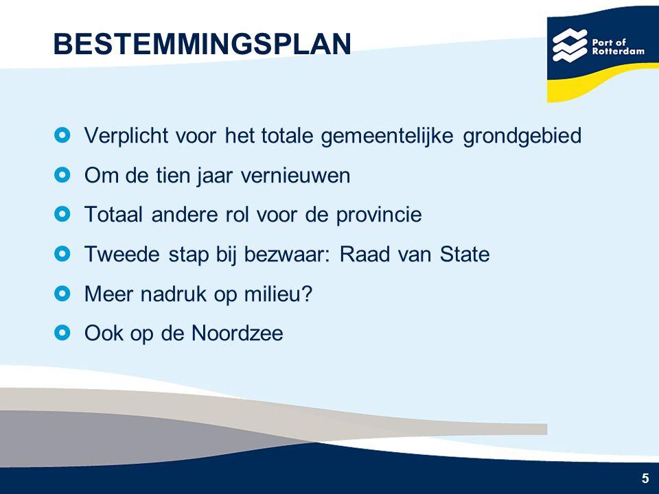 5 BESTEMMINGSPLAN  Verplicht voor het totale gemeentelijke grondgebied  Om de tien jaar vernieuwen  Totaal andere rol voor de provincie  Tweede stap bij bezwaar: Raad van State  Meer nadruk op milieu.