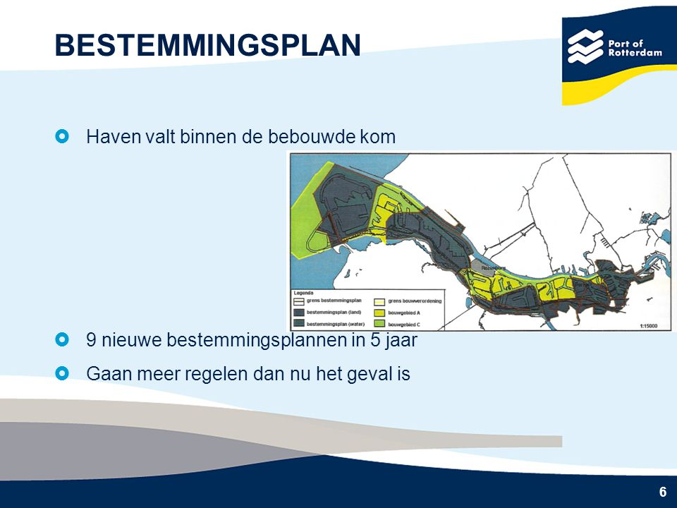 6 BESTEMMINGSPLAN  Haven valt binnen de bebouwde kom  9 nieuwe bestemmingsplannen in 5 jaar  Gaan meer regelen dan nu het geval is