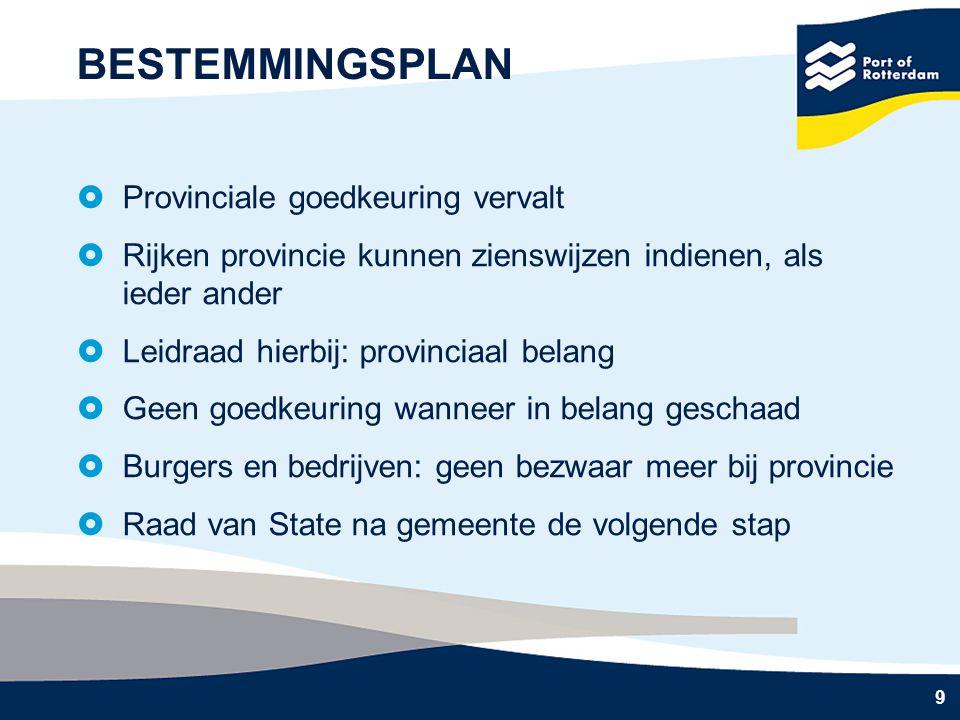 9 BESTEMMINGSPLAN  Provinciale goedkeuring vervalt  Rijken provincie kunnen zienswijzen indienen, als ieder ander  Leidraad hierbij: provinciaal be