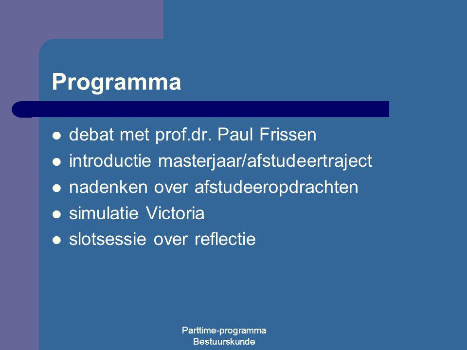 Parttime-programma Bestuurskunde Programma debat met prof.dr.