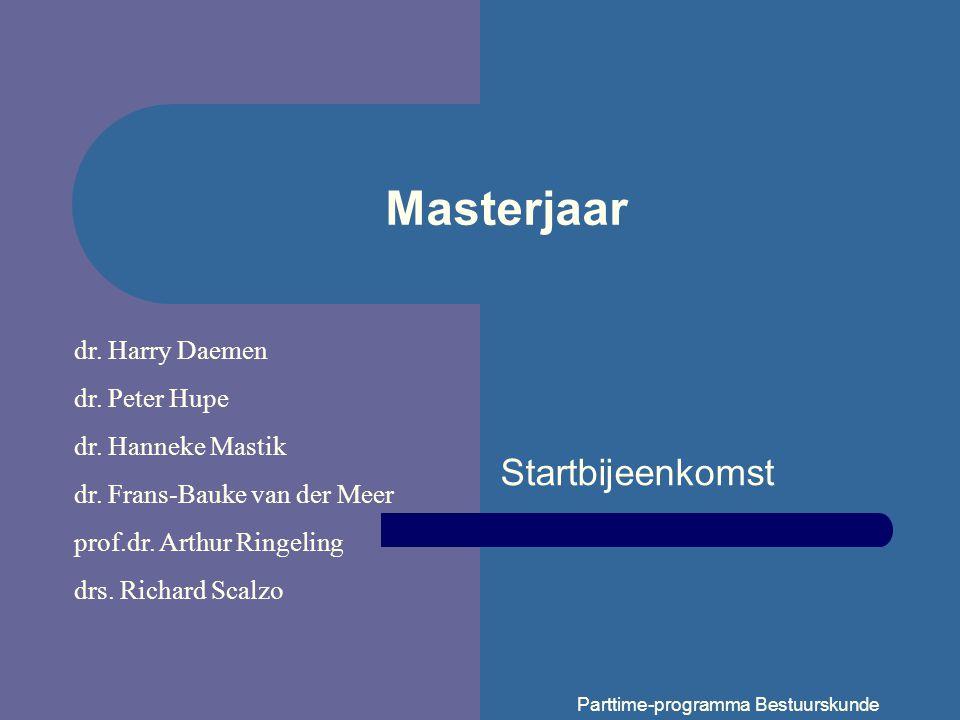 Parttime-programma Bestuurskunde Masterjaar Startbijeenkomst dr.