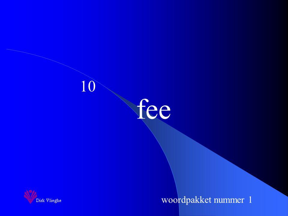 woordpakket nummer 1 fee 10