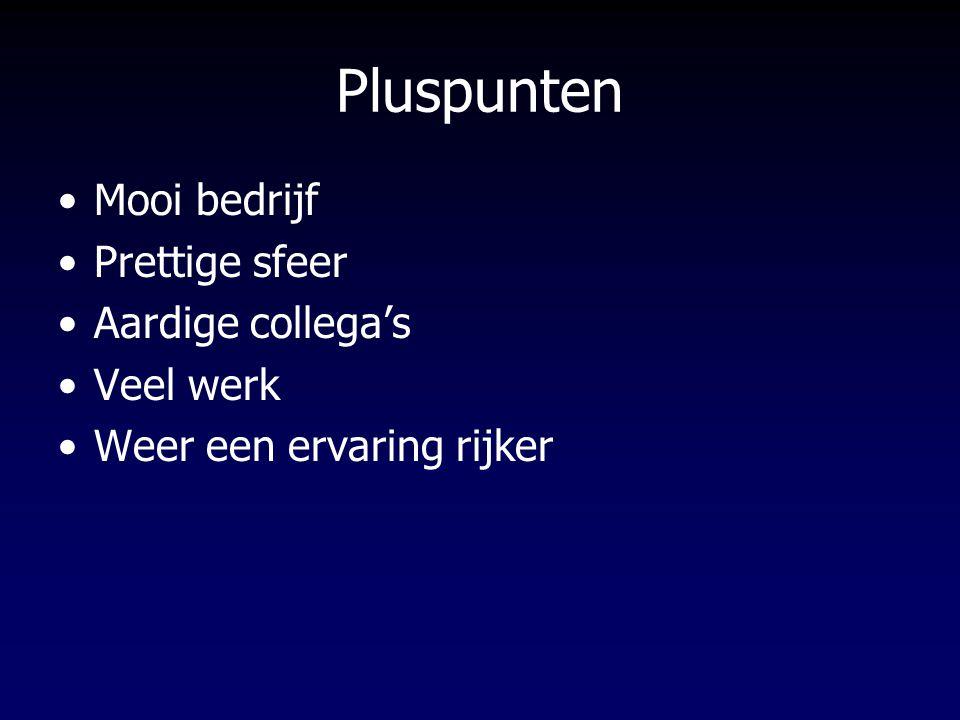 Pluspunten Mooi bedrijf Prettige sfeer Aardige collega's Veel werk Weer een ervaring rijker