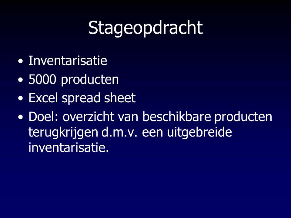Stageopdracht Inventarisatie 5000 producten Excel spread sheet Doel: overzicht van beschikbare producten terugkrijgen d.m.v. een uitgebreide inventari