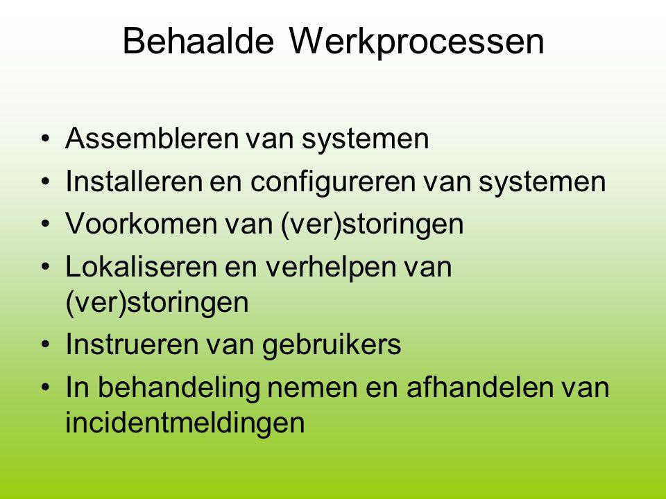 Behaalde Werkprocessen Assembleren van systemen Installeren en configureren van systemen Voorkomen van (ver)storingen Lokaliseren en verhelpen van (ve