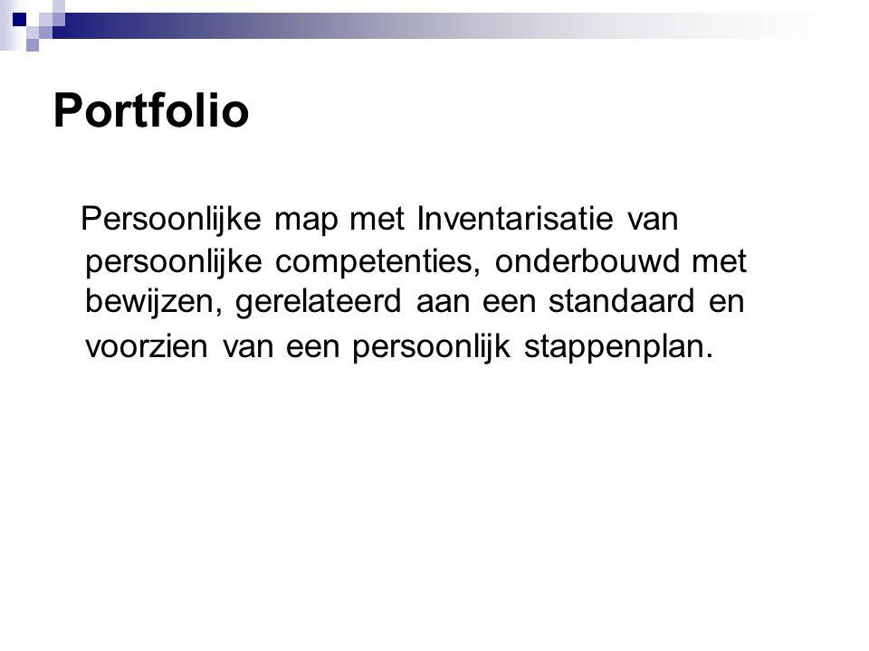 Portfolio Persoonlijke map met Inventarisatie van persoonlijke competenties, onderbouwd met bewijzen, gerelateerd aan een standaard en voorzien van ee