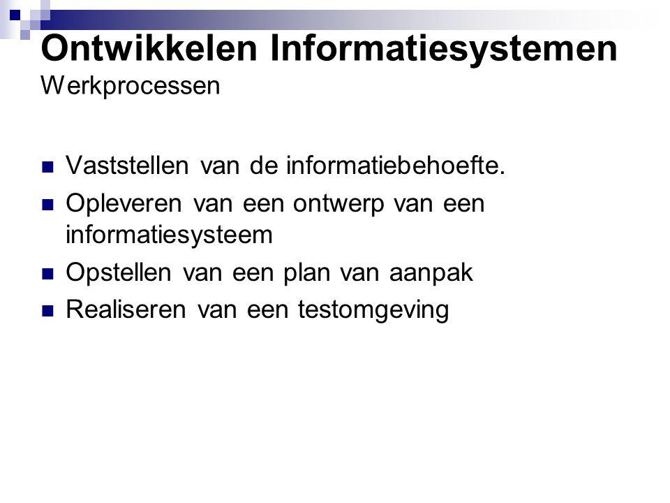 Implementeren informatiesystemen Werkprocessen Opstellen Implementatieplan Uitvoeren Implementatieplan Ondersteuning bieden bij acceptatietests Evalueren van een Implementatie