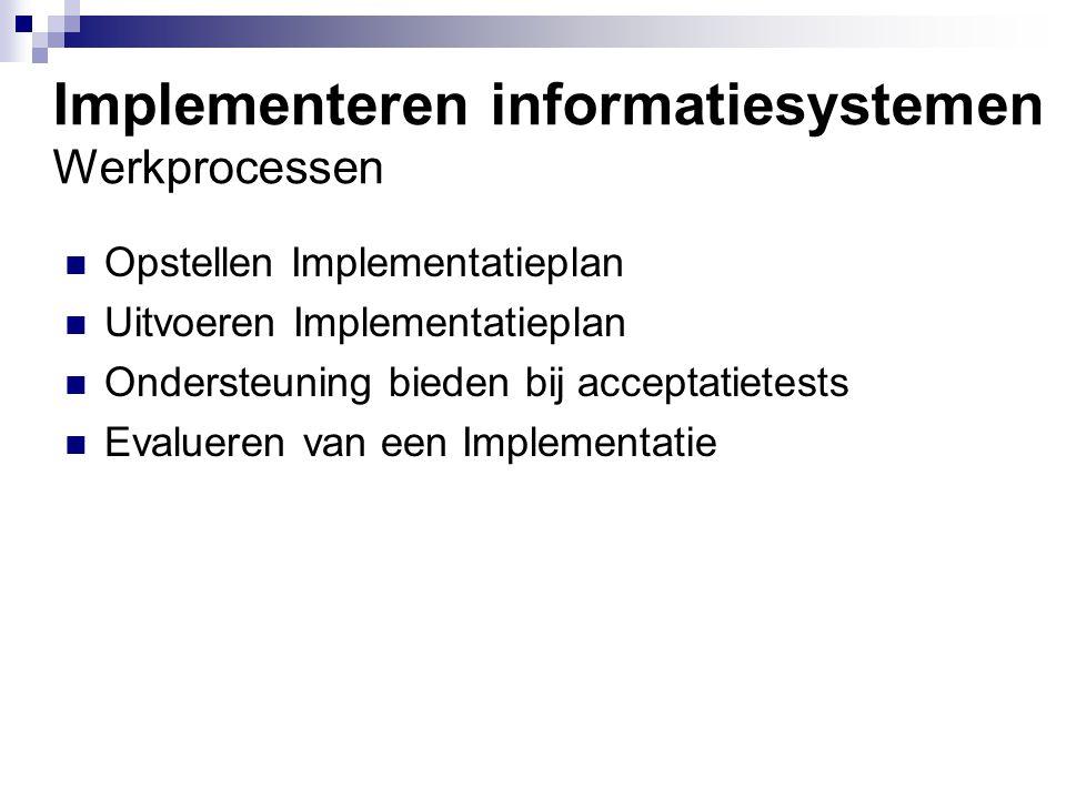 Beheren van Informatiesystemen Werkprocessen Voorkomen van (ver)storingen Lokaliseren en verhelpen van (ver)storingen Incidentmeldingen behandelen en afhandelen Opstellen en bewaken van procedures