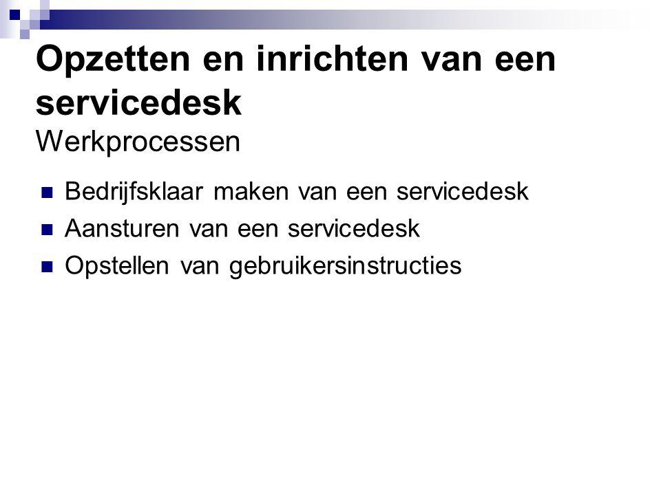 Opzetten en inrichten van een servicedesk Werkprocessen Bedrijfsklaar maken van een servicedesk Aansturen van een servicedesk Opstellen van gebruikers