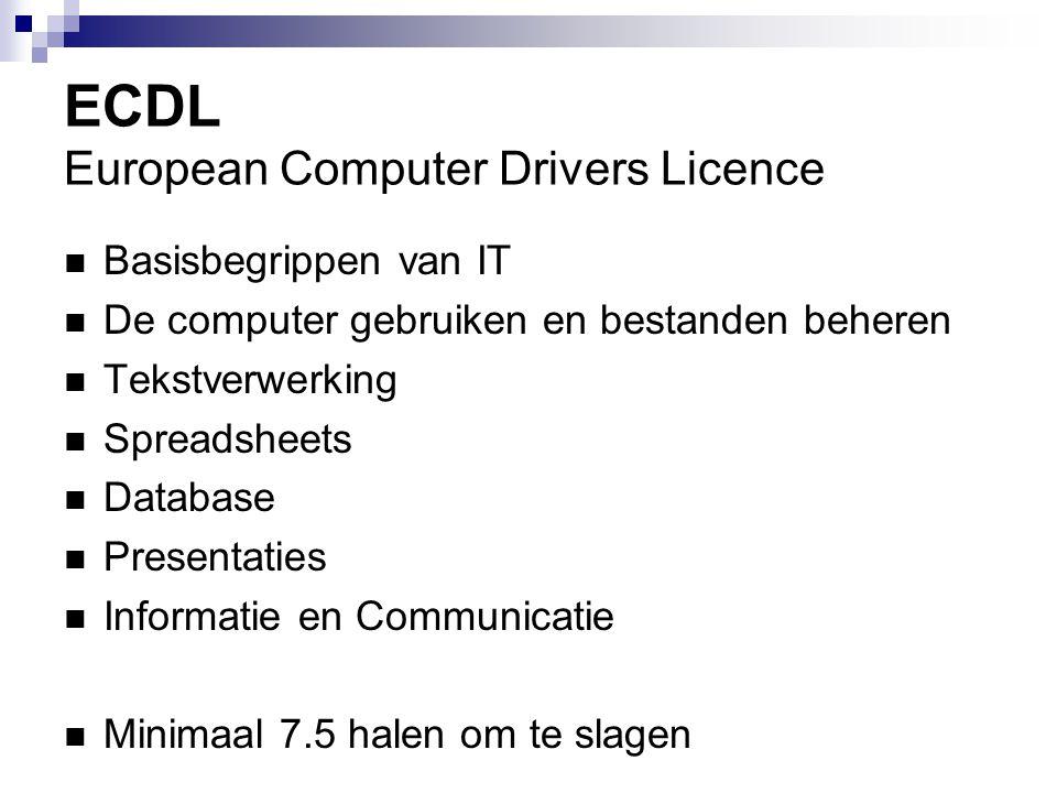 ECDL European Computer Drivers Licence Basisbegrippen van IT De computer gebruiken en bestanden beheren Tekstverwerking Spreadsheets Database Presenta