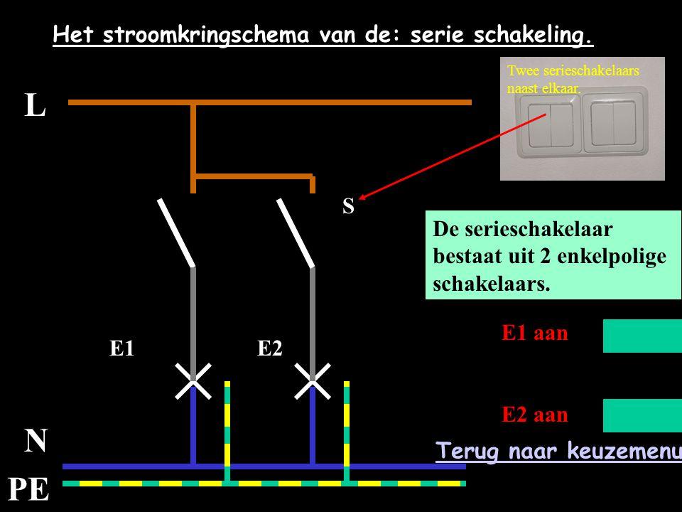 L N PE Het stroomkringschema van de: serie schakeling. E1E2 S De serieschakelaar bestaat uit 2 enkelpolige schakelaars. E1 aan E2 aan Twee serieschake