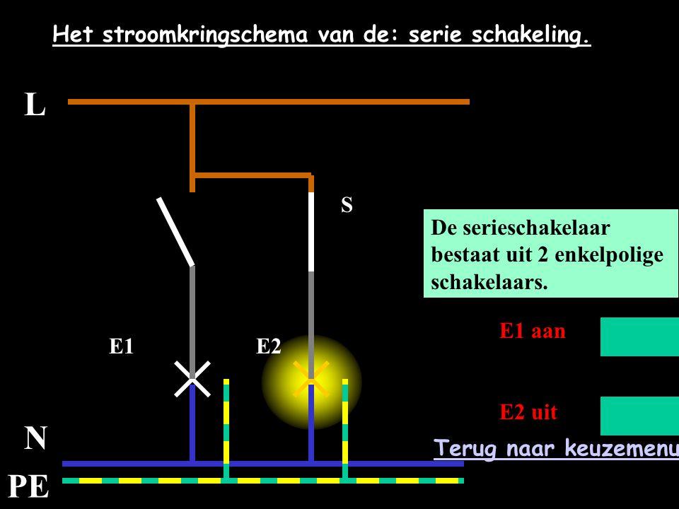L N PE Het stroomkringschema van de: serie schakeling. E1E2 S De serieschakelaar bestaat uit 2 enkelpolige schakelaars. E1 aan E2 uit Terug naar keuze