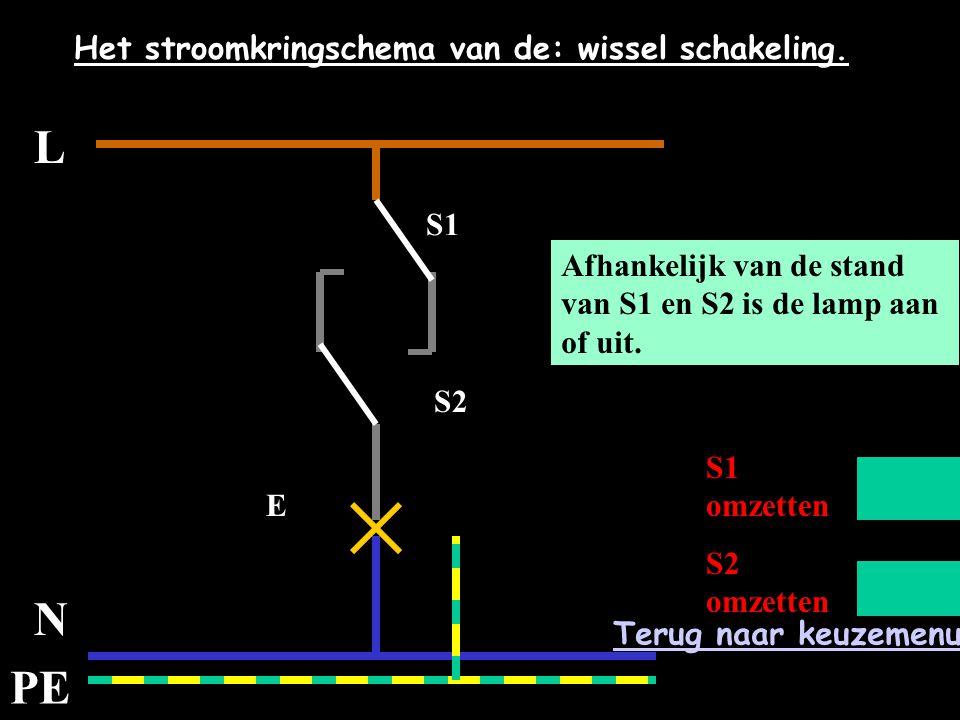 L N PE Het stroomkringschema van de: wissel schakeling.