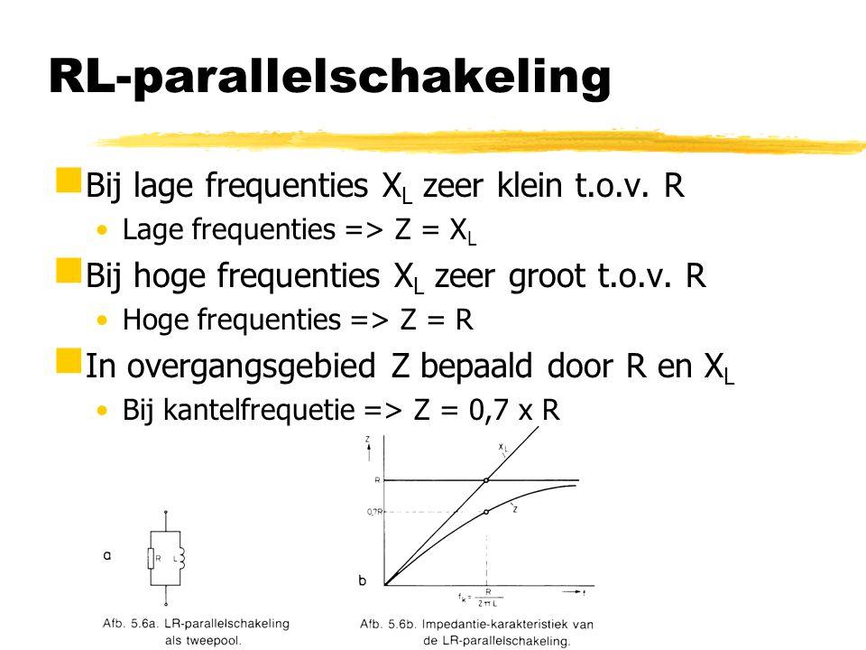 RL-parallelschakeling  Bij lage frequenties X L zeer klein t.o.v. R Lage frequenties => Z = X L  Bij hoge frequenties X L zeer groot t.o.v. R Hoge f
