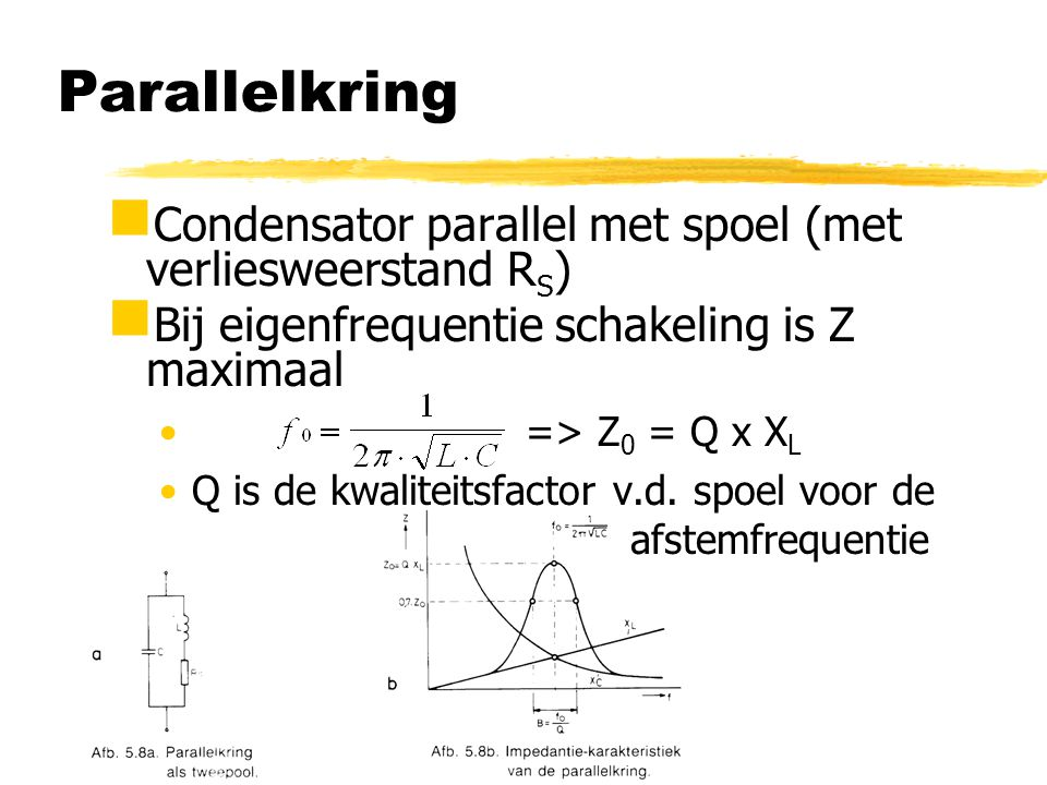 Parallelkring  Condensator parallel met spoel (met verliesweerstand R S )  Bij eigenfrequentie schakeling is Z maximaal => Z 0 = Q x X L Q is de kwa