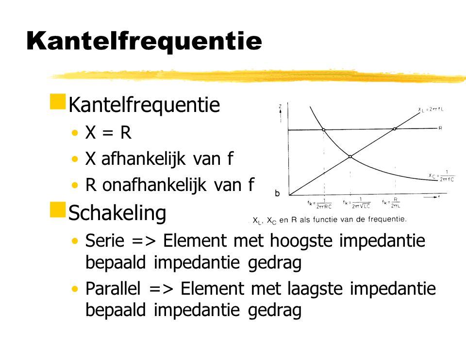 RC-laagdoorlaatfilter  Hoge frequentie => C vormt 'kortsluiting'  Lage frequentie => C vormt 'onderbreking'  Bij kantelfrequentie is U L /U i = 0,7 => grensfrequentie