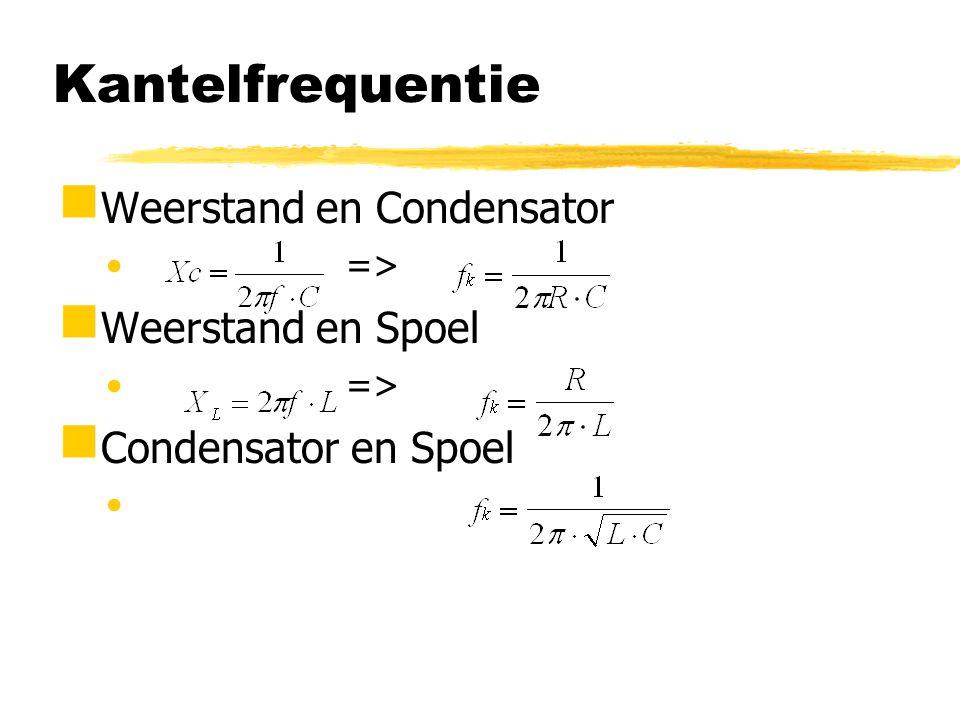 RC-hoogdoorlaatfilter  Hoge frequentie => C vormt 'kortsluiting'  Lage frequentie => C vormt 'onderbreking'  Bij kantelfrequentie is U L /U i = 0,7 => grensfrequentie