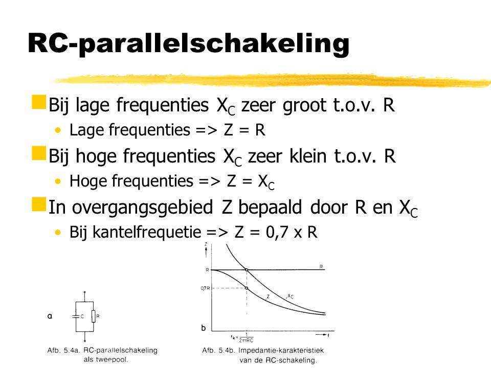 RC-parallelschakeling  Bij lage frequenties X C zeer groot t.o.v. R Lage frequenties => Z = R  Bij hoge frequenties X C zeer klein t.o.v. R Hoge fre
