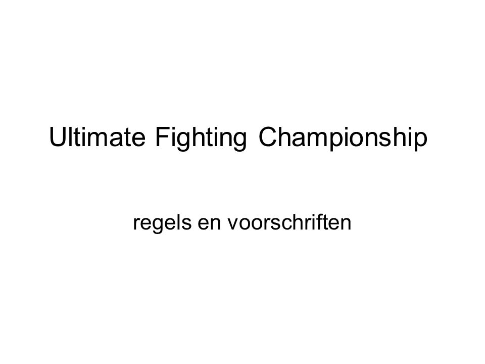 Ultimate Fighting Championship regels en voorschriften